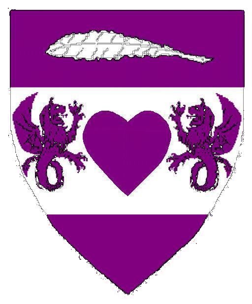 Purpure, on a fess argent a heart between two bat-winged lion-dragons combatant purpure, in chief a feather fesswise argent