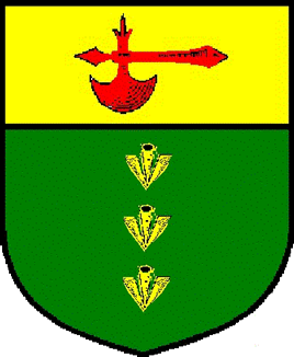 Vert, in pale three broad arrows and on a chief Or a battleaxe gules. Name and device registered: October, 2002